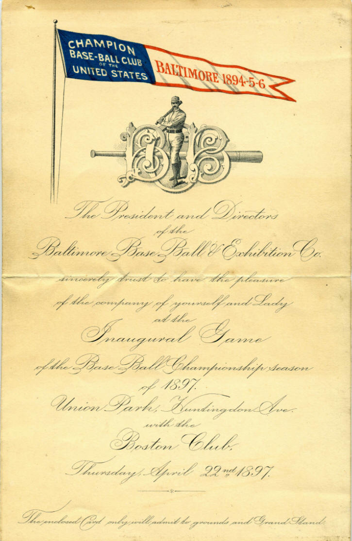 1897 Baltimore Oriole Inaugural Game Invitation