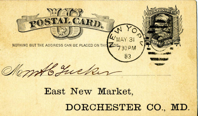 1883 Postal Card, East New Market, MD